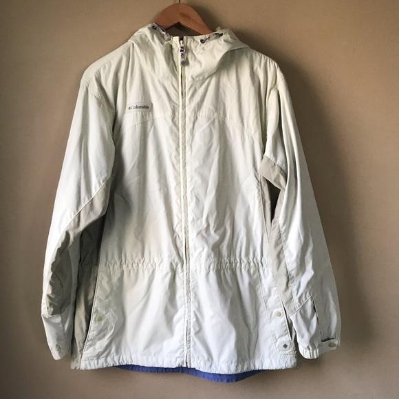 Columbia Windbreaker Jacket Full Zip Size L Beige